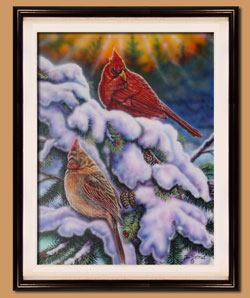 Cardinals Color Art for Sale By Wisconsin Wildlife Artist Jim Tostrud
