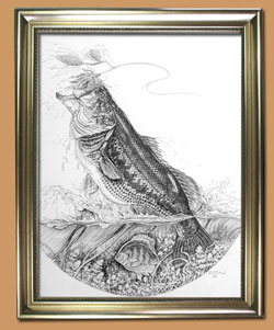Bustin' Bass Unique Black and WHite Pencil art for Sale By Wisconsin Wildlife Artist Jim Tostrud