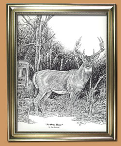 No One's Home Unique Black and WHite Pencil art for Sale By Wisconsin Wildlife Artist Jim Tostrud